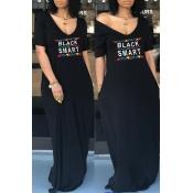 lovely Casual V Neck Letter Print Black Maxi Dress