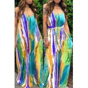 lovely Bohemian Tie-dye Blue Maxi Dress