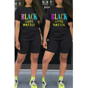 lovely Casual Letter Print Black Two-piece Shorts