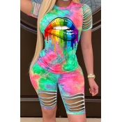 lovely Leisure O Neck Lip Print Green Two-piece Sh