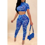 lovely Casual Print Blue Two-piece Pants Set