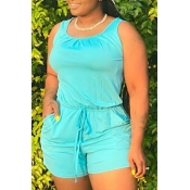 lovely Casual Drawstring Cyan One-piece Romper