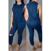 lovely Casual Hollow-out Deep Blue One-piece Jumpsuit