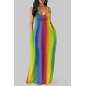 Lovely Casual Striped Multicolor Maxi Plus Size Dr