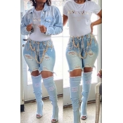 lovely Stylish Broken Holes Baby Blue Denim Shorts