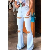 lovely Stylish Hollow-out Baby Blue Jeans