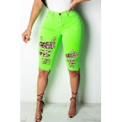 lovely Casual Patchwork Grass Green Denim Shorts