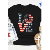 lovely Independence Day Casual Letter Print Black