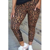 lovely Casual Print Brown Pants