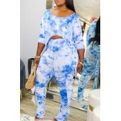 Lovely Casual Tie Dye Asymmetrical Blue Two Piece Pants Set