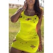 Lovely Casual Broken Holes Yellow Mini Dress