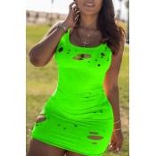Lovely Casual Broken Holes Green Mini Dress