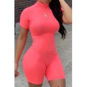 lovely Leisure Basic Skinny Watermelon Red One-piece Romper