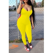 lovely Casual Spaghetti Strap Yellow One-piece Jumpsuit
