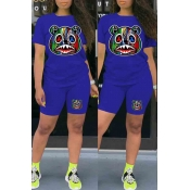 Lovely Casual O Neck Print Blue Two-piece Shorts S