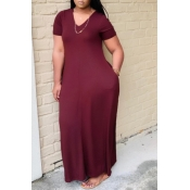 lovely Casual V Neck Basic Wine Red Ankle Length Plus Size Dress