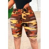 lovely Casual Camo Print Yellow Denim Shorts