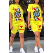 lovely Casual O Neck Print Yellow Two-piece Shorts Set