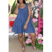 Lovely Sweet Fold Design Deep Blue Knee Length Den