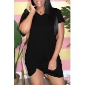 lovely Casual Knot Design Black Mini Dress