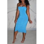 lovely Sexy Fold Design Skyblue Knee Length Dress