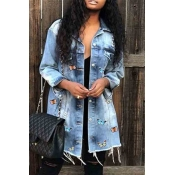 lovely Casual Butterfly Baby Blue Denim Jacket
