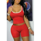 lovely Sportswear Patchwork Red Two-piece Shorts Set