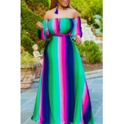 lovely Bohemian Striped Green Maxi Dress