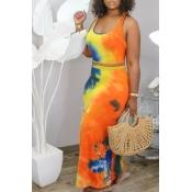 Lovely Trendy Tie Dye CrociTwo Piece Skirt Set