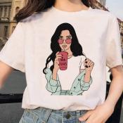 lovely Casual O Neck Print White T-shirt
