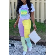 Lovely Trendy Letter Print Yellow Two-piece Pants Set
