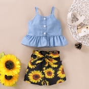 lovely Sweet Print Baby Blue Girl Two-piece Shorts