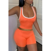 lovely Sportswear Patchwork Orange Two-piece Shorts Set