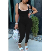 lovely Sportswear Patchwork Black One-piece Jumpsuit