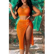 lovely See-through Orange Cover-up(Two-piece)