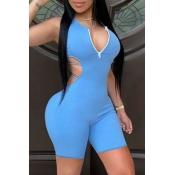 Lovely Sportswear Backless Zipper Design Blue One-