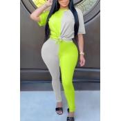 Lovely Sportswear Patchwork Green Two-piece Pants