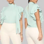 Lovely Sweet Turtleneck Flounce Design Green Blous