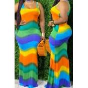 Lovely Bohemian Rainbow Striped Green Maxi Dress