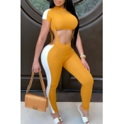 lovely Sportswear Patchwork Yellow Two-piece Pants Set