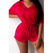 lovely Casual V Neck Lace-up Red Two-piece Shorts