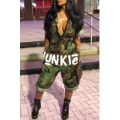 Lovely Leisure Camo Print Army Green One-piece Jumpsuit