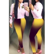 lovely Casual Gradual Change Yellow Leggings