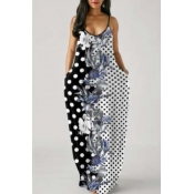 Lovely Casual Print Patchwork Black And White Maxi Plus Size Dress