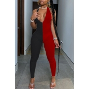 lovely Sexy V Neck Patchwork Red One-piece Jumpsui