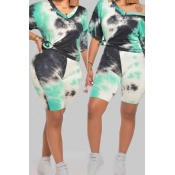 Lovely Casual Tie-dye Blue Plus Size Two-piece Shorts Set