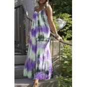 lovely Bohemian Tie-dye Purple Ankle Length Plus S