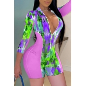 Lovely Stylish Print Patchwork Pink One-piece Romp