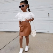 lovely Casual Flounce Design White Girl Two-piece Skirt Set