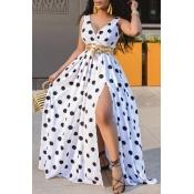 lovely Trendy Deep V Neck Dot Print White Maxi Dress